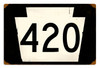 Retro Route 420 Metal Sign  18 x 12 Inches