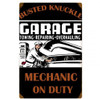 Vintage  Mechanic On Duty Metal Sign 12 x 18 Inches
