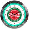 Retro Coca-colaâ® Evergreen Neon Clock 15 X 15 Inches