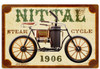 Retro Nittal Steam Cycle Metal Sign 18 x 12 Inches