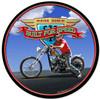 Retro Ride Hard Round Metal Sign 14 x 14 Inches