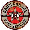Retro Dads Garage Round Metal Sign 14 x 14 Inches