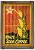 White Star Coffee  Corrugated Rustic Metal and  Barn Wood Sign 16 x 24 Inches