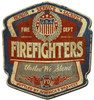 Firefighters United Metal Sign 15 x 16 Inches