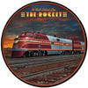 Rocket Train Round Metal Sign 28 x 28 Inches