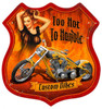 Retro Flames Pinup Shield  - Pin-Up Girl Metal Sign 15 x 15 Inches