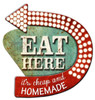 3-D Layered Eat Here  Metal Sign 21 x 24 Inches