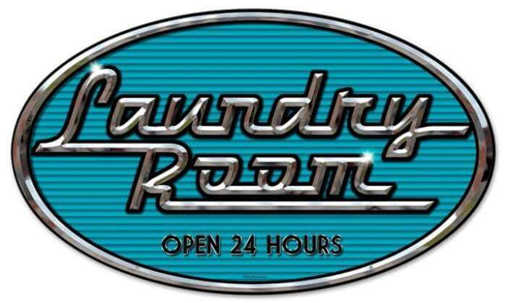 Retro Laundry Chrome Oval Metal Sign 14 x 24 Inches