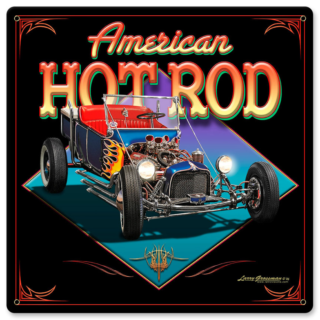 American Hot Rod Metal Sign 12 x 12 Inches
