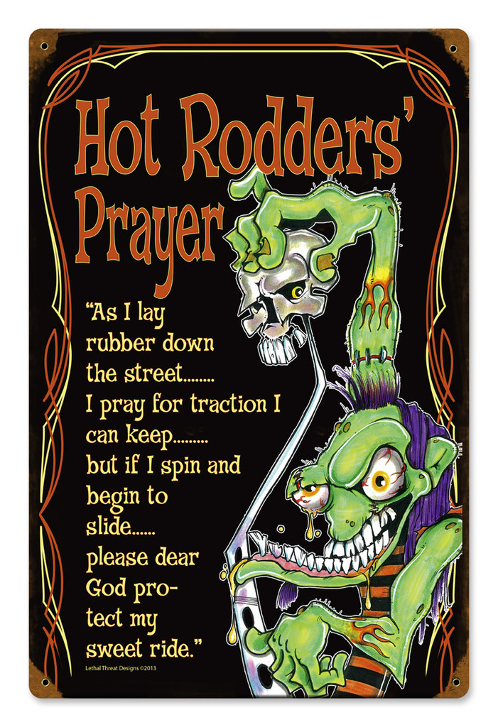 Hot Rod Prayer Metal Sign 12 x 18 Inches