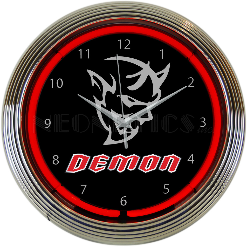 DODGE DEMON Neon Clock 15 X 15 Inches