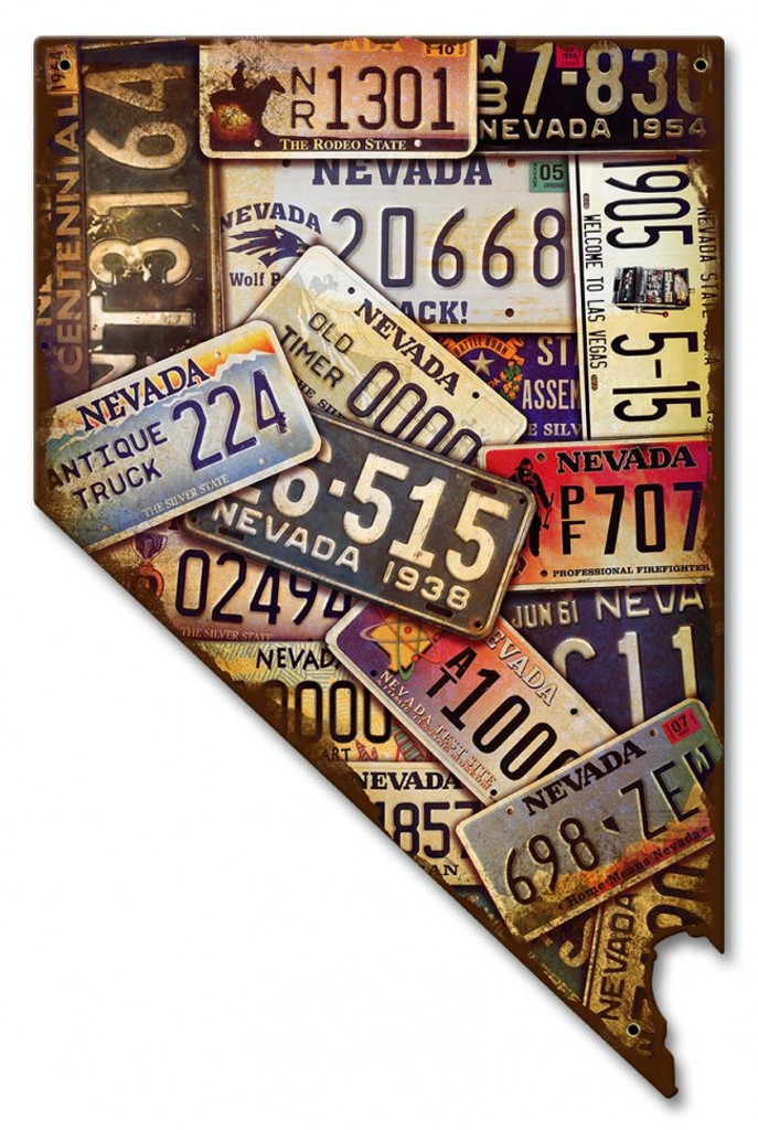 Nevada Map License Plates Metal Sign 10 x 16 Inches on map white on white art, map made of buttons, map of united states license, map made of tools, map made of paper, map made of flowers, map wall decor metal art, map made of books,