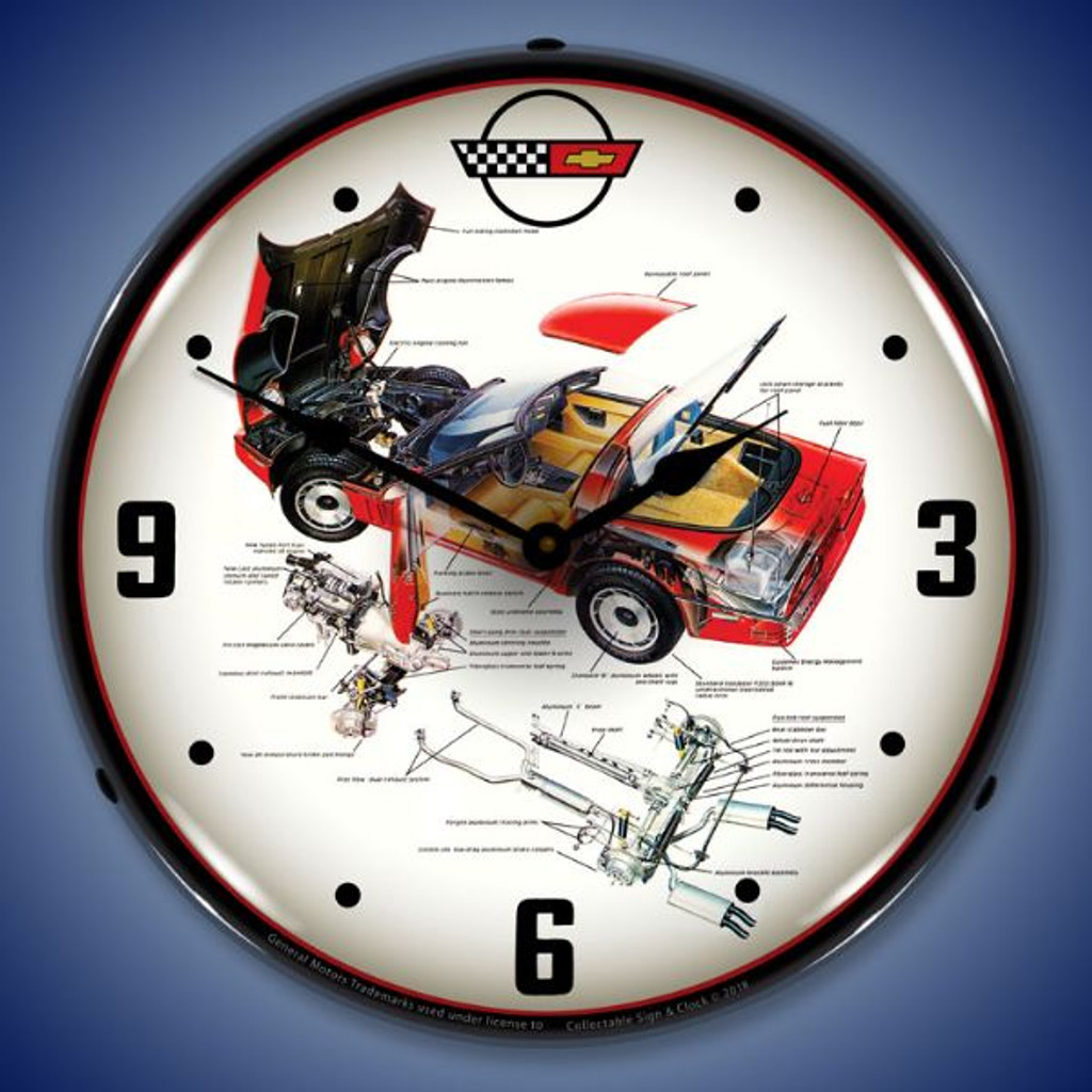 C4 Corvette Tech LED Lighted Wall Clock 14 x 14 Inches
