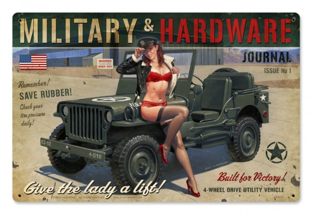 Military Hardware Pinup Metal Sign 18  x 12 Inches
