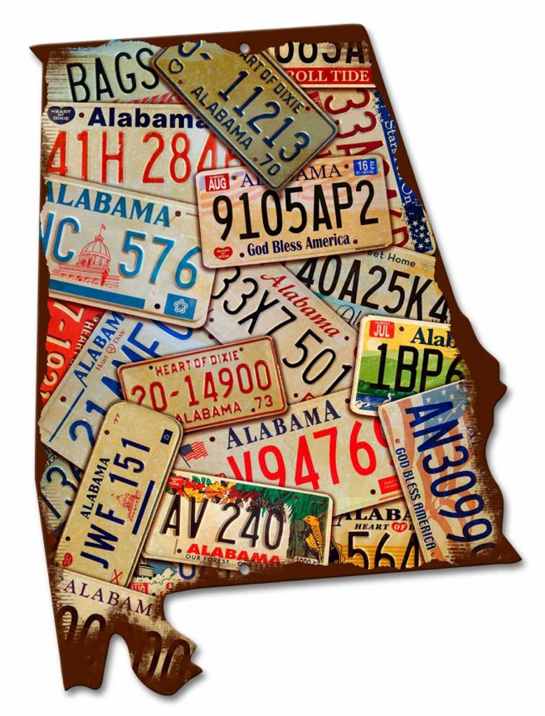 Alabama License Plates Metal Sign 15 x 20 Inches