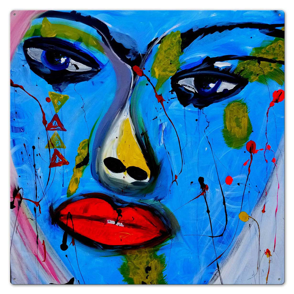 Red Lips Modern Art Metal Sign 28 x 28 Inches