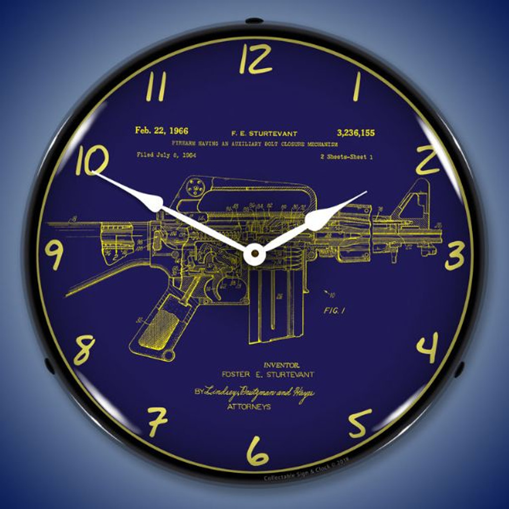 AR-15 Patent LED Lighted Wall Clock 14 x 14 Inches