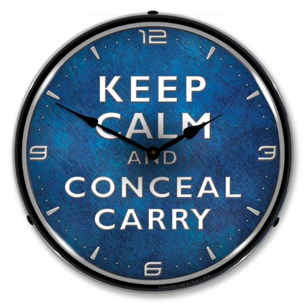 Calm Conceal Carry Lighted Wall Clock 14 x 14 Inches