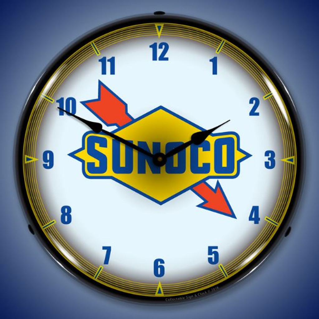Sunoco Lighted Wall Clock 14 x 14 Inches