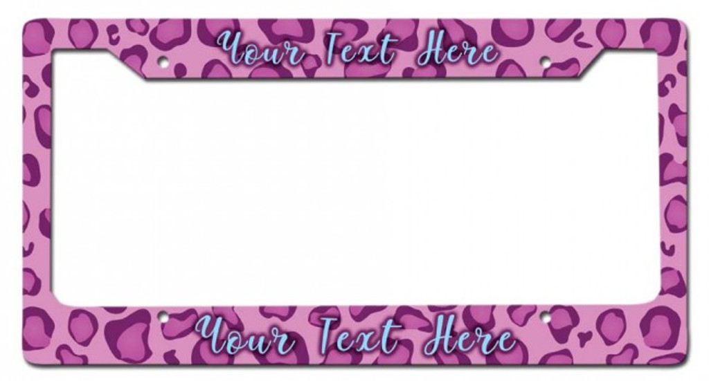 Pink Leopard Personalized License Frame 12 x 6 Inches