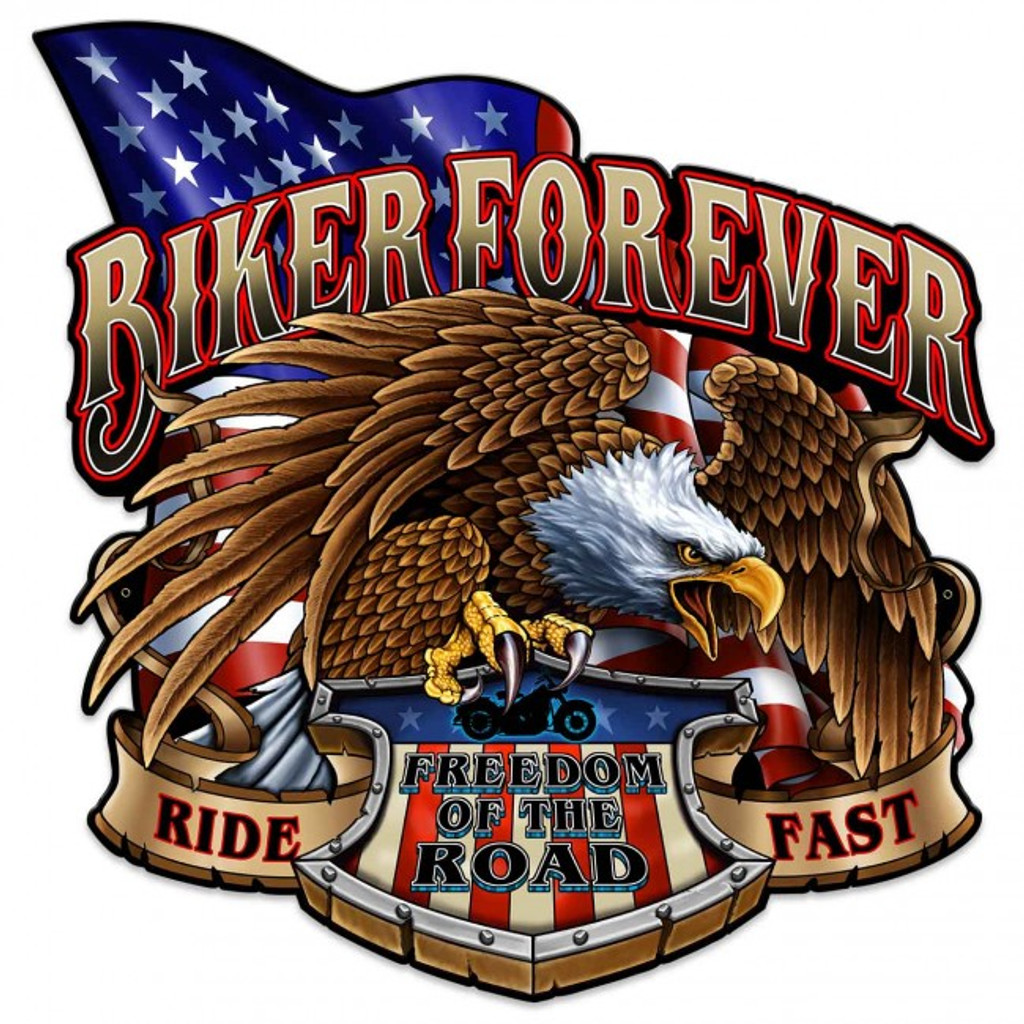 Biker Forever Eagle Metal Sign 24 x 24 Inches