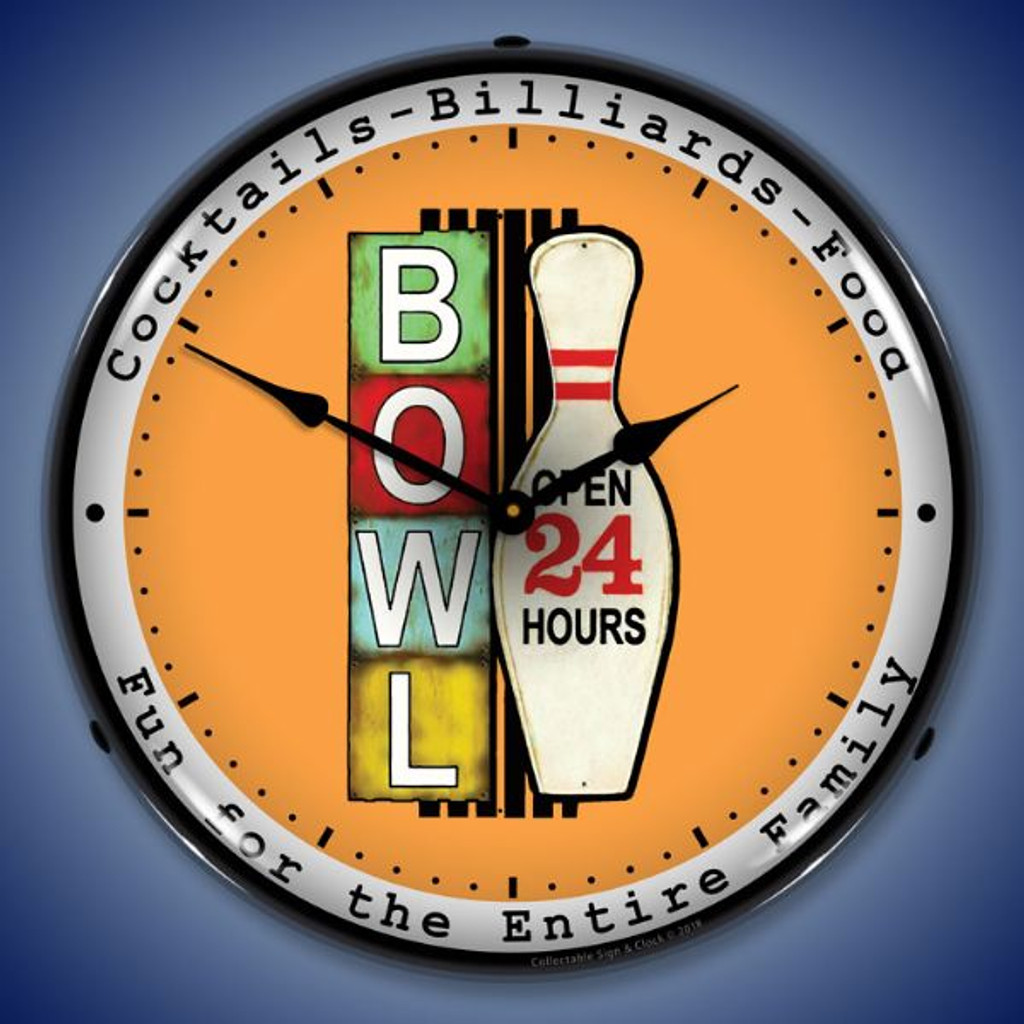 Bowling 24 Hours LED Lighted Wall Clock 14 x 14 Inches