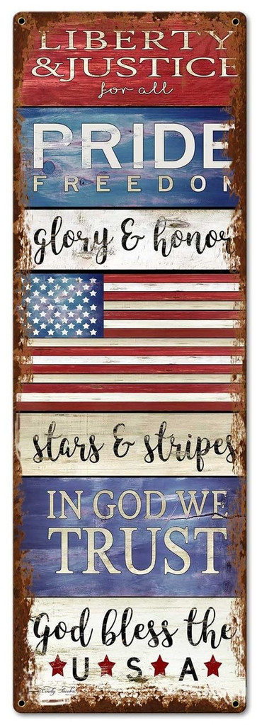 PAT God Bless The USA Metal Sign 10 x 30 Inches