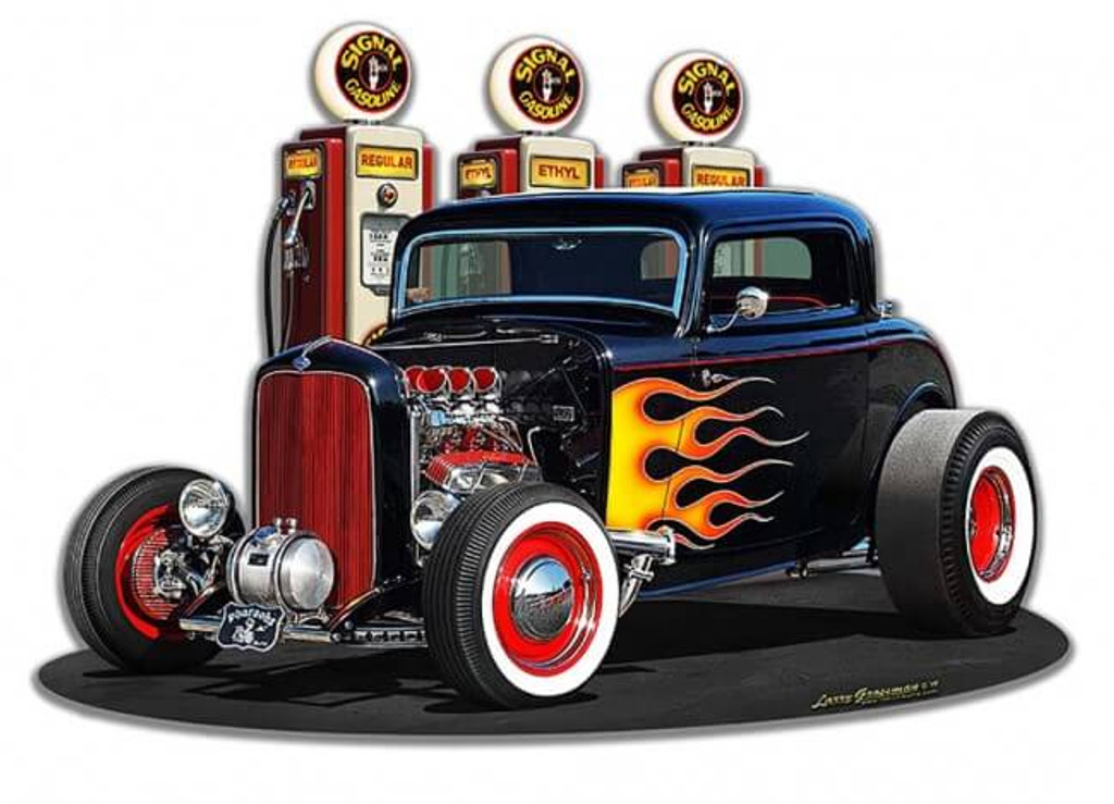 1932 Deuce Coupe Fill-up Cutout Metal Sign 18 x 13 Inches