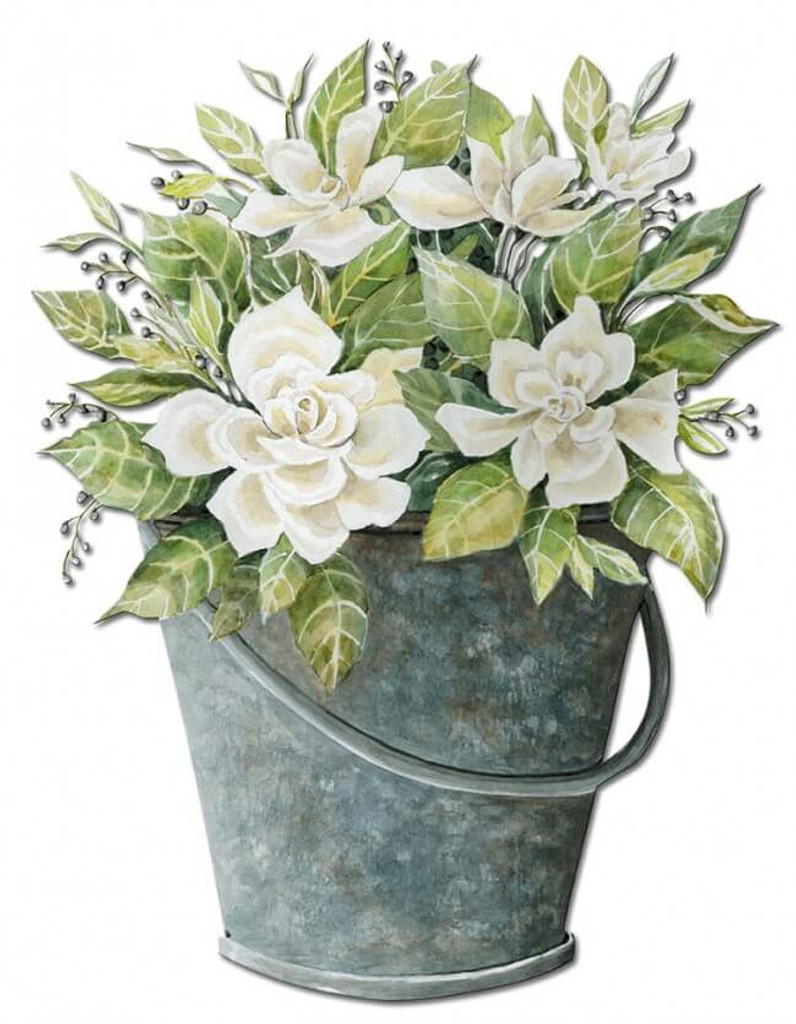 GAL White Flower Bucket Metal Sign 10 x 13 Inches