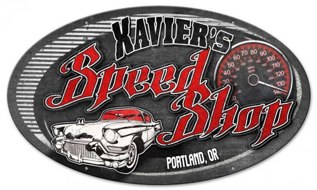 Oval Speed Shop Metal Sign - Personalized 24 x 14 Inches