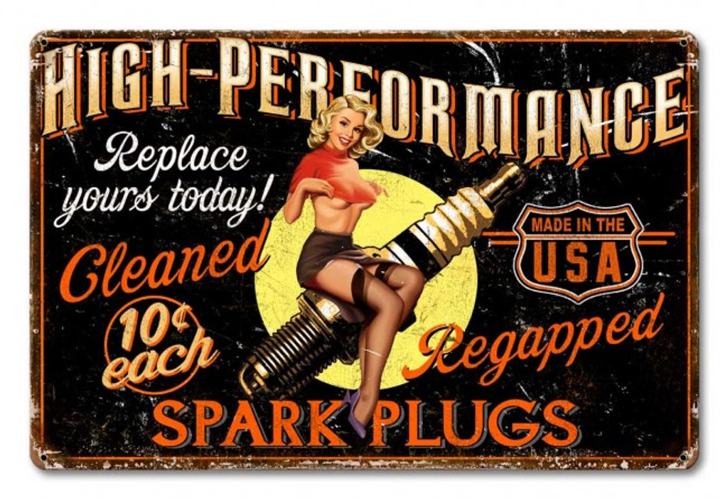 Spark Plug High Performance Metal Sign 24 x 16 Inches