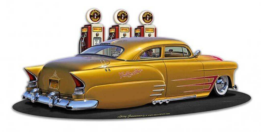 1954 Chev Led Sled Fillup Metal Sign 18 x 10 Inches