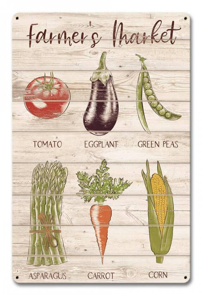Farmer's Market Vegetables Metal Sign 12 x 18 Inches