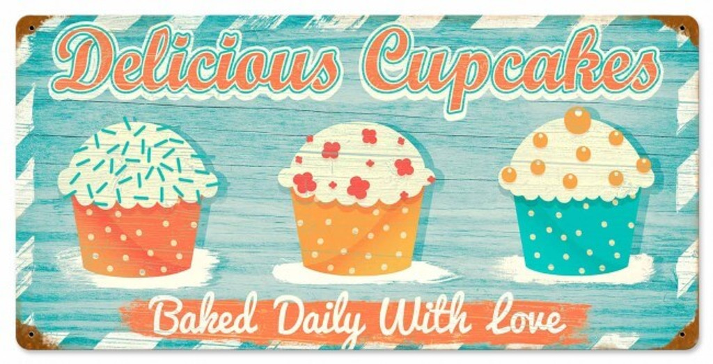 Delicious Cupcakes Metal Sign 24 x 12 Inches