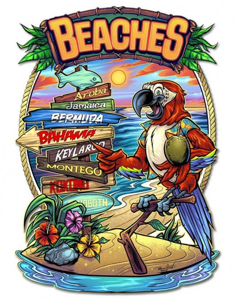 Parrot Beach Crossroads Metal Sign 17 x 22 inches