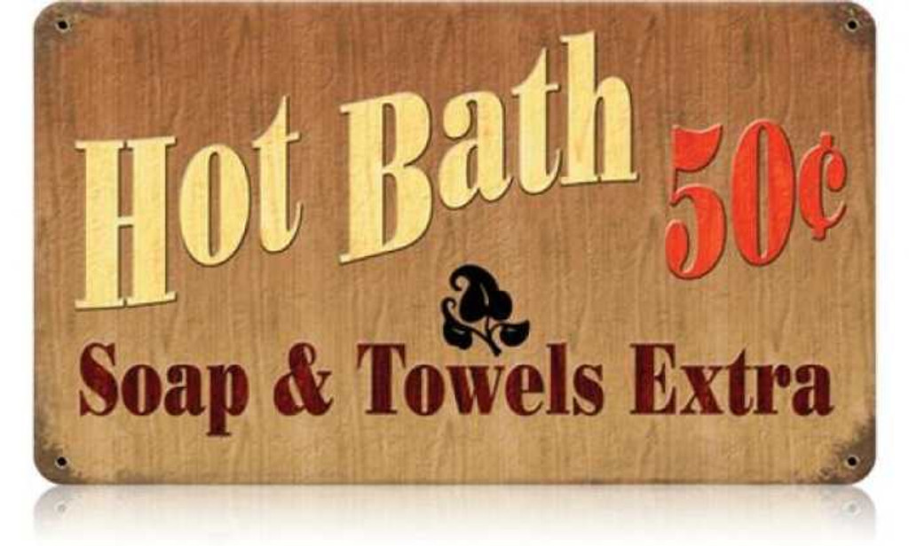 Retro Hot Bath Metal Sign 14 x 8 Inches