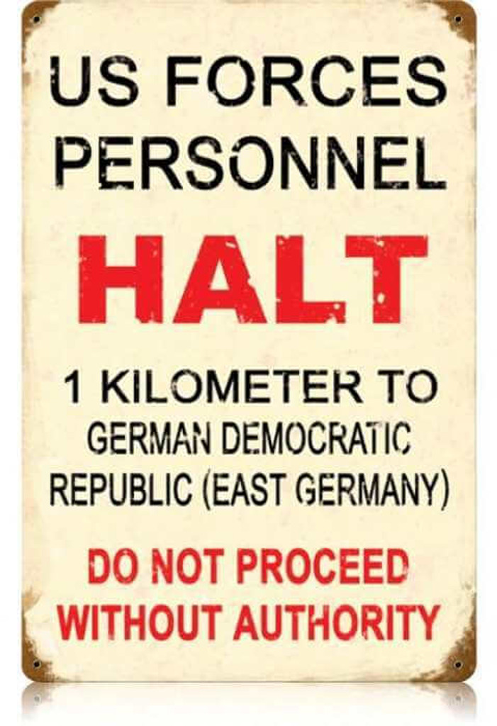 Vintage US Forces Halt Metal Sign 12 x 18 Inches