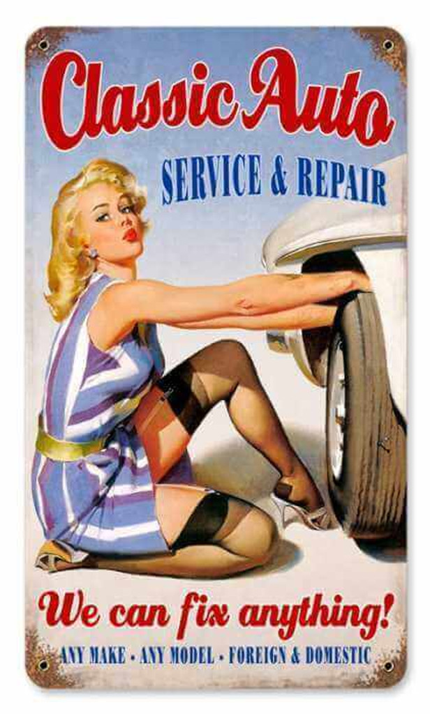 Vintage Classic Auto  - Pin-Up Girl Metal Sign   8 x 14 Inches