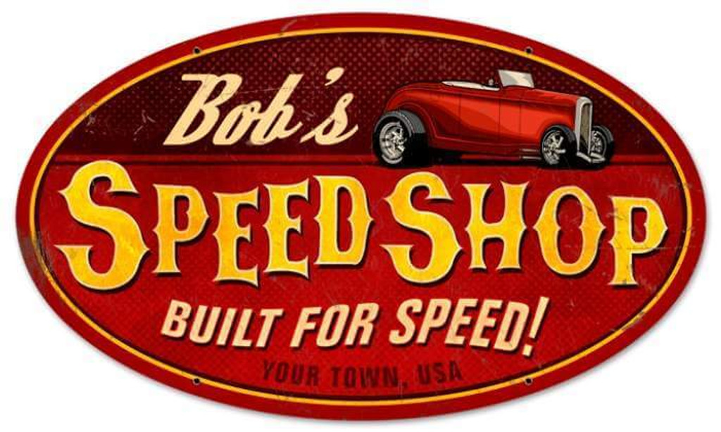 Retro Speed Shop Oval Metal Sign - Personalized 24 x 14 Inches