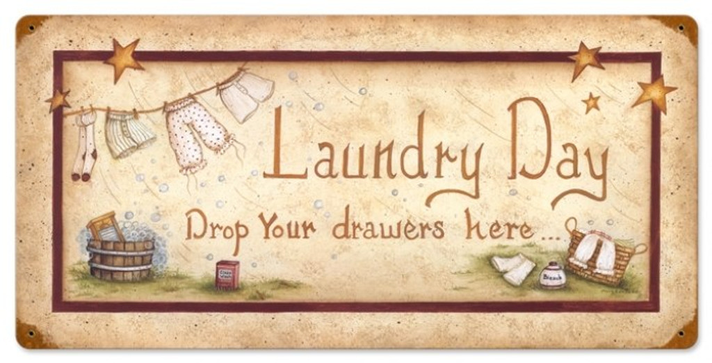 Retro Laundry Drop Drawers Metal Sign 24 x 12 Inches