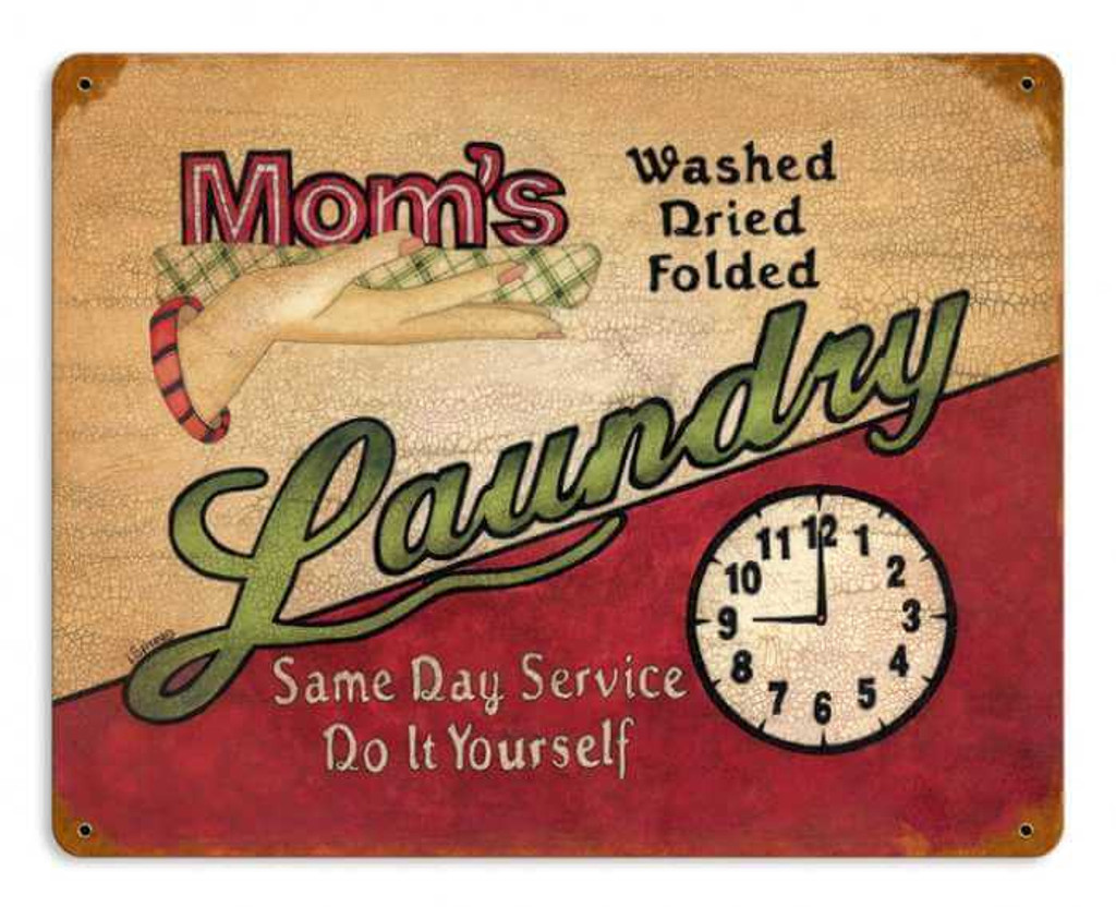 Retro Mom's Laundry Metal Sign 14 x 11 Inches