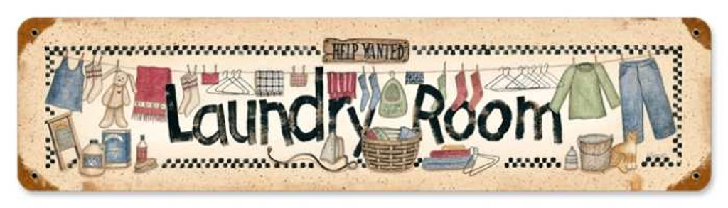 Retro Laundry Help Wanted Metal Sign 20 x 5 Inches