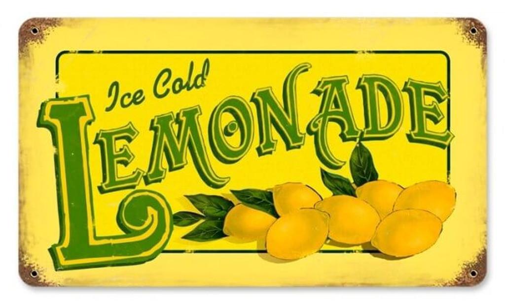 Retro Lemonade Metal Sign 14 x 8 Inches