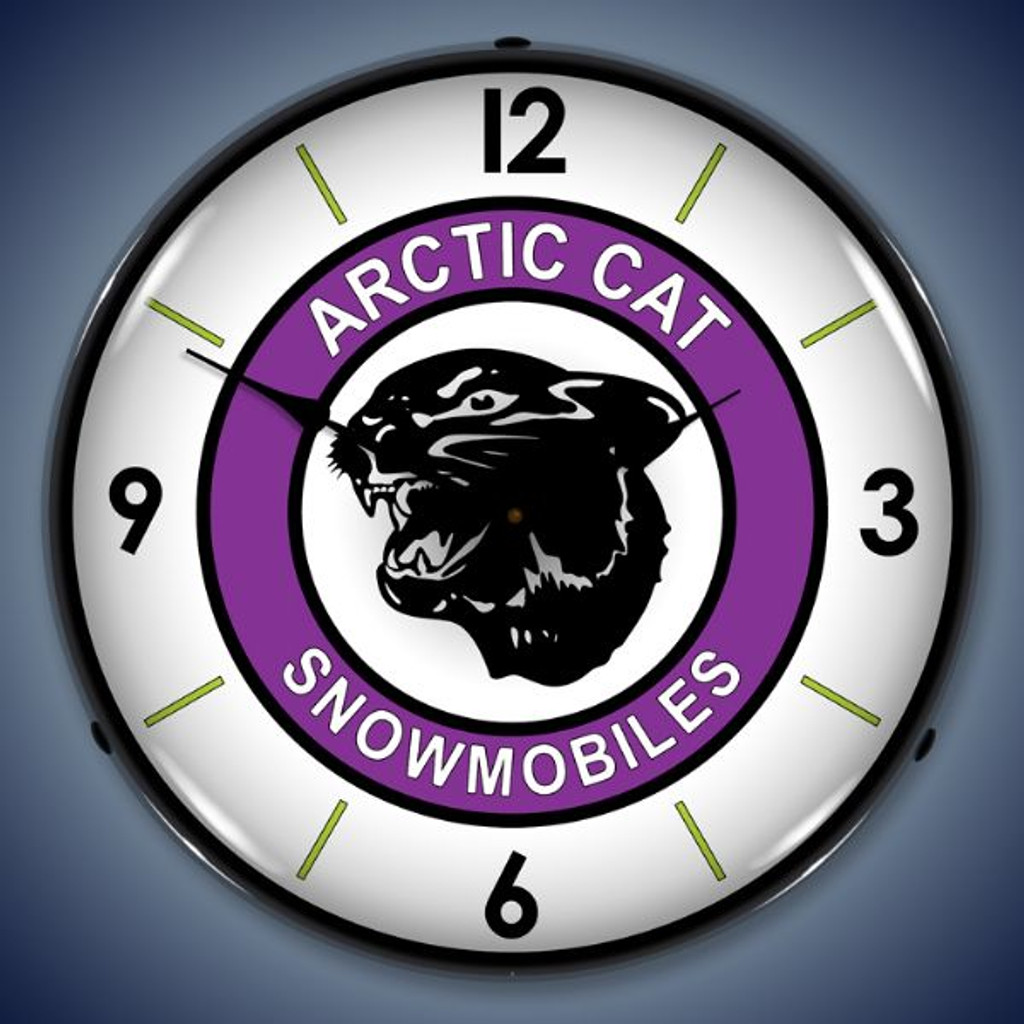 Retro  Artic Cat Lighted Wall Clock 14 x 14 Inches