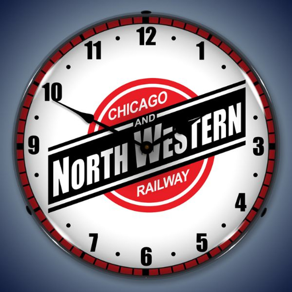 Retro  Chicago North Western Railroad Lighted Wall Clock 14 x 14 Inches
