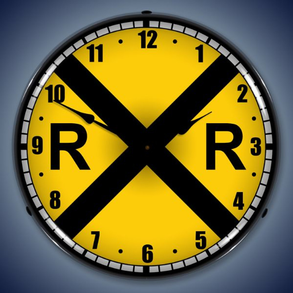 Retro  Railroad Crossing Lighted Wall Clock 14 x 14 Inches