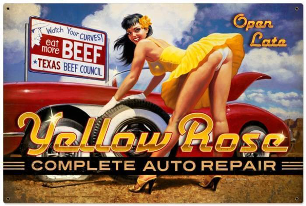 Yellow Rose  - Pin-Up Girl Metal Sign 36 x 24 Inches