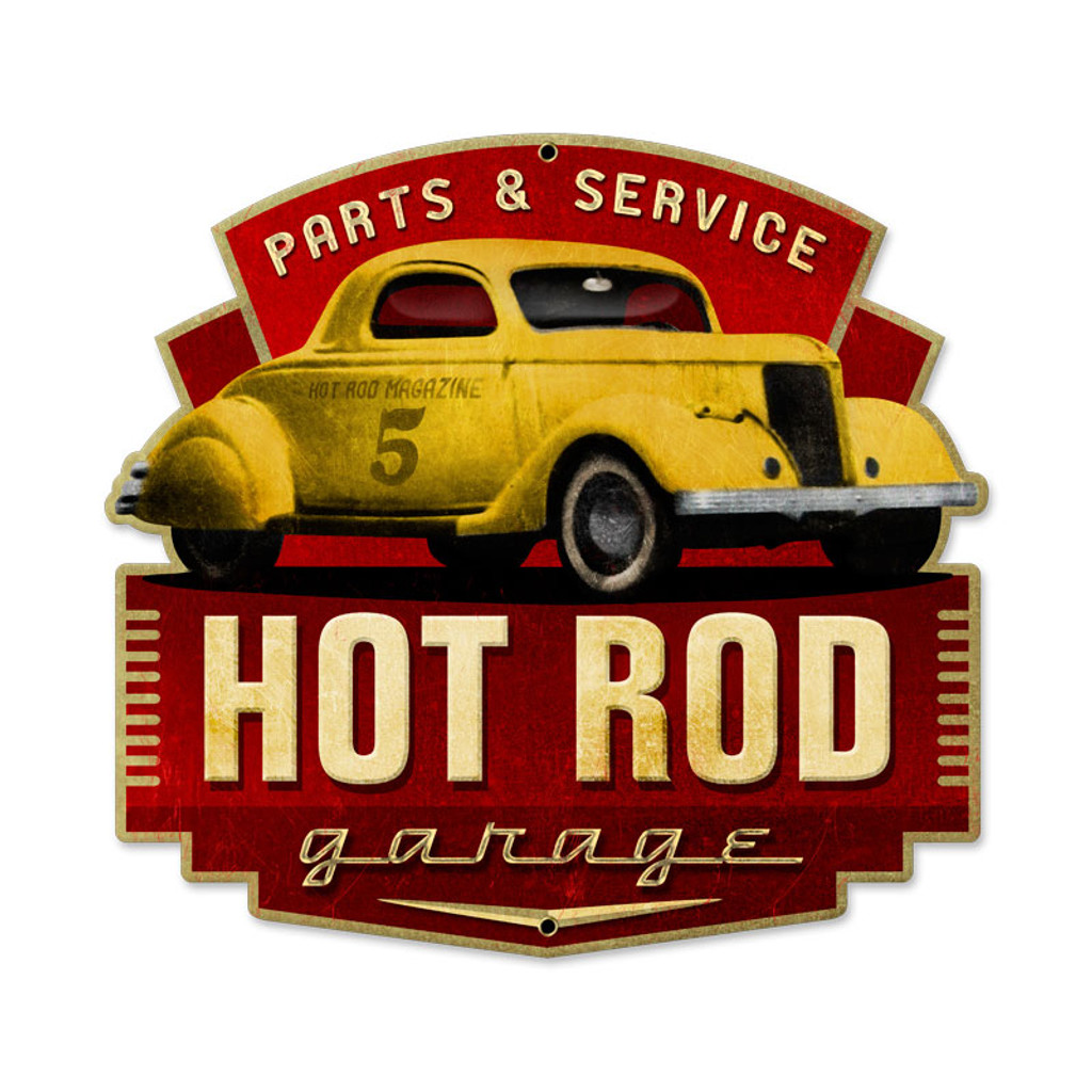 Retro Hot Rod Parts and Service Metal Sign 17 x 16 Inches