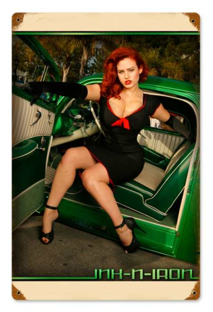 Vintage Green Car Pinup Pin Up Girl Metal Sign 12 X 18