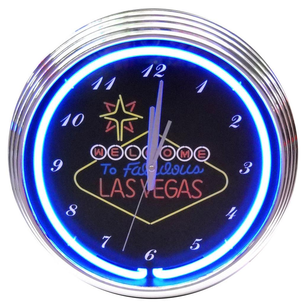 Retro Las Vegas Sign Neon Clock 15 X 15 Inches